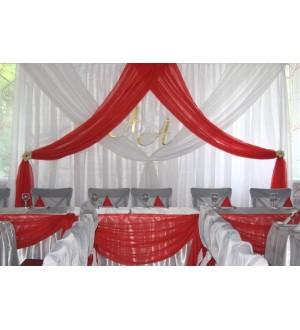 Красно-белое оформление свадебного зала
