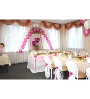 Розовое оформление банкетного зала