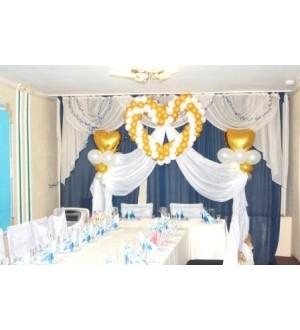 Оформление свадьбы в голубом зале кафе